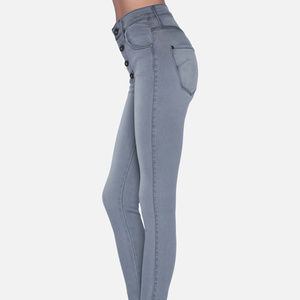 High Waisted Skinny Jeans in Goddess Grey